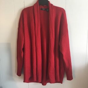 Red open front sweater